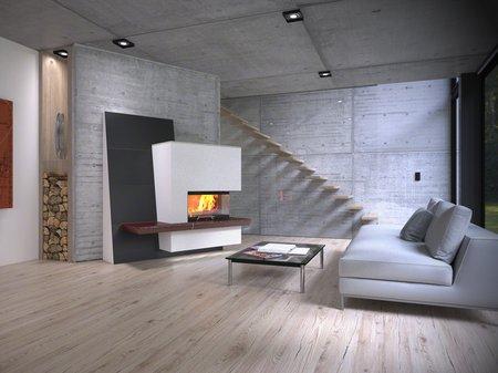 Eine großflächige Ofenkeramik plus Sitzbank ist ein puristischer Trend bei modernen Holzfeuerstätten.