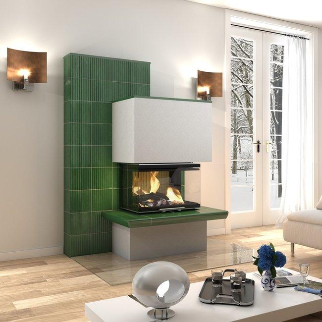 Die Ofenkeramik von modernen Holzfeuerstätten bietet eine Entspannungsoase.