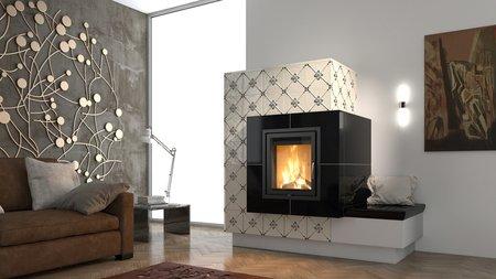 Eine Großkeramik im reizvollen Schwarz-Weiß-Kontrast lässt das Flammenspiel einer modernen Holzfeuerstätte noch schöner erstrahlen.