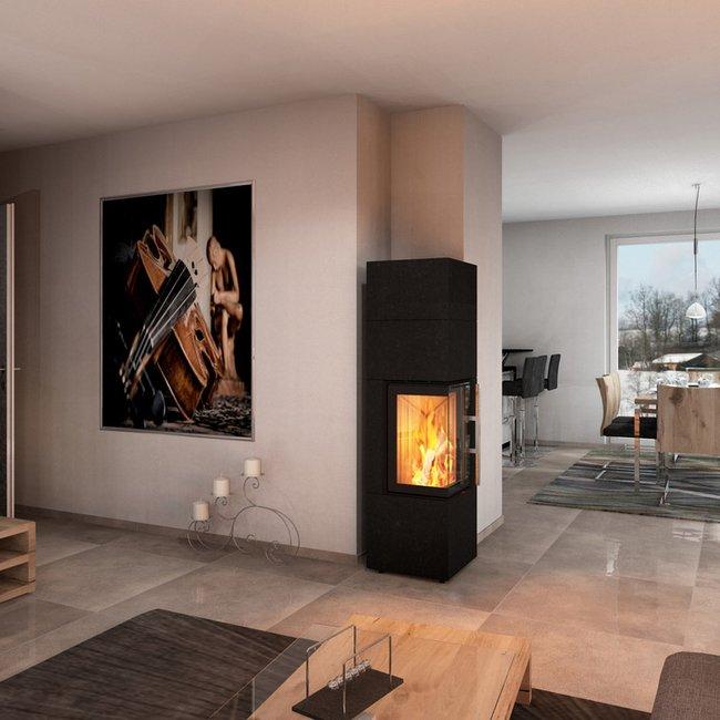 Der Kaminofen bietet eine sichere, moderne Lagerfeuerromantik.
