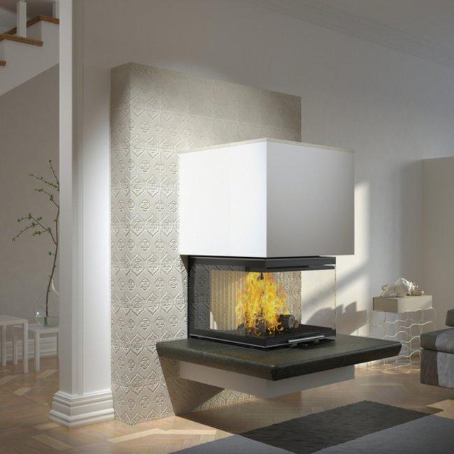 Das besondere Design von modernen Holzfeuerstätten wertet Immobilien auf.