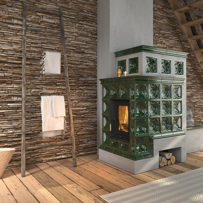 Mit ausdruckstarken Farben macht die Ofenkeramik einen Heizkamin, Kaminöfen und Kachelöfen zu einem Highlight des Raums.
