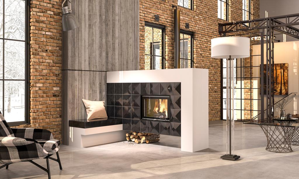 Neu ersetzt alt: Moderner Holzofen (Grundofen) mit Sitzbank und schwarzer Ofenkeramik (3D-Kacheln) in einem Loft